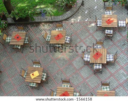empty street cafe - stock photo