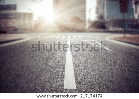 empty street, city in china. - stock photo