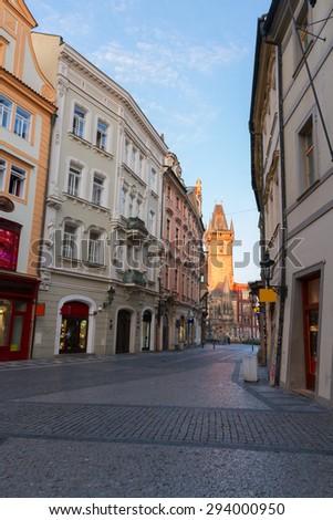 empty street in old town,  Prague, Czech Republic - stock photo