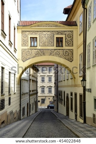 Empty street in Prague and blue sky