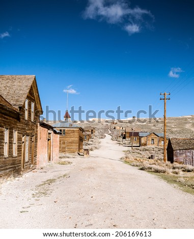 Empty street in the ghost town Bodie