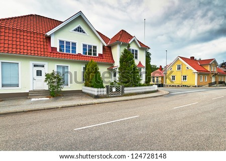 Empty street of Kyrkhult town in southern Sweden - stock photo