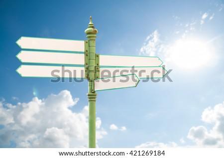 Multidirectional Six Way Signpost Blank Spaces Stock Photo