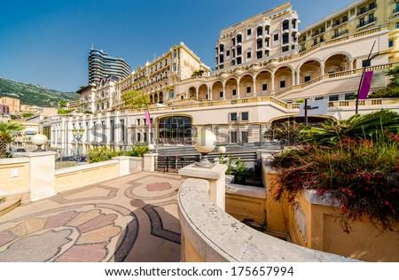 Empty street view of Monaco - stock photo