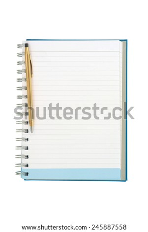 Empty strip line notebook with gold pen on left side isolated on white background - stock photo