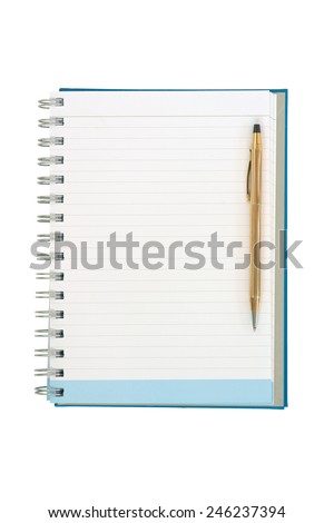 Empty strip line notebook with twisted gold pen on right side isolated on white background - stock photo