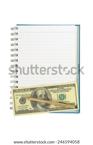 Empty strip line notebook with twisted gold pen over 100 dollar note on bottom of page isolated on white background - stock photo