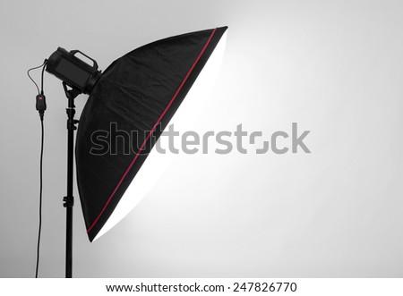 empty studio gray background and flash light  - stock photo