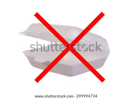 Empty styrofoam meal box with prohibition sign on a white background