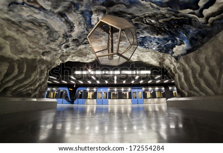Empty Subway train station in Stockholm - stock photo