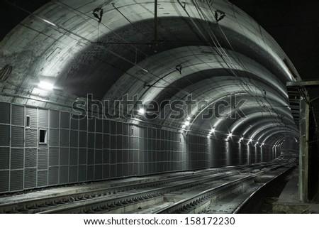 Empty Subway Tunnel, Two Railroads - stock photo