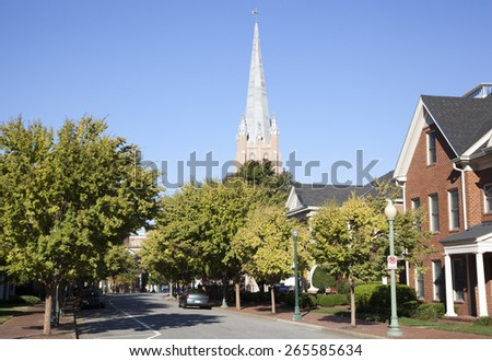 Empty sunny street in the city of Norfolk (West Virginia). - stock photo