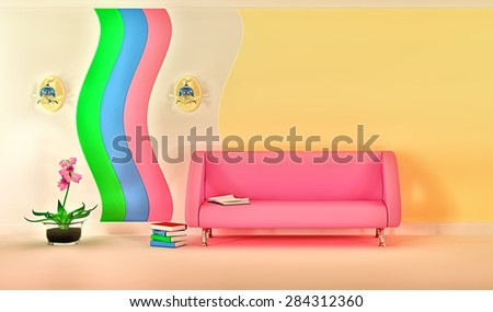 Empty sunny stylish minimalist modern living room with pink sofa, sconce and pink flower. 3D rendering. - stock photo