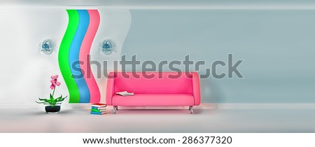 Empty sunny stylish minimalist modern living room with pink sofa, sconce, pink flower and grey wall on the picture with the proportions of 21:9. 3D rendering. - stock photo
