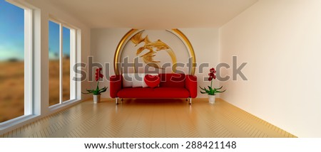 Empty sunny stylish minimalist modern living room with red sofa and white cushion, heart-shaped pillow, flowers and golden dragon decoration on the wall. 21:9 proportions. 3D rendering.