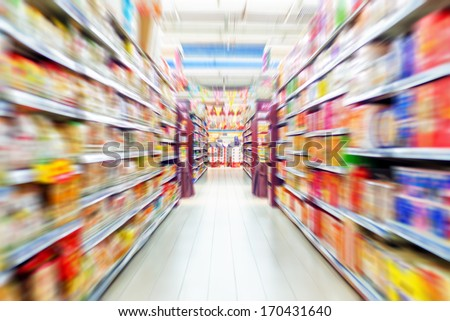 Empty supermarket aisle, Motion Blur. - stock photo