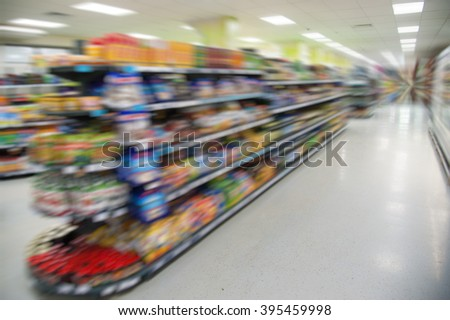 Empty supermarket aisle motion blur. Shopping in the supermarket
