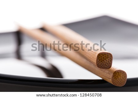 empty sushi set, plateaus and chopsticks isolated on white background - stock photo