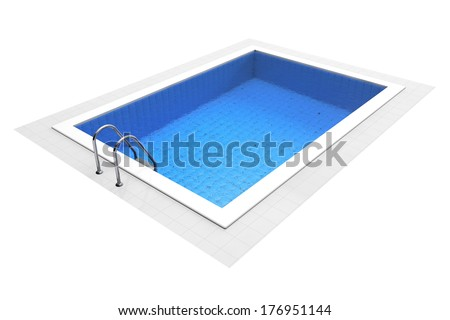 Empty Swimming Pool on a white background - stock photo