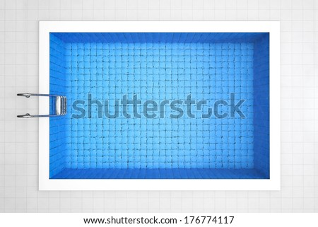 empty swimming pool top view on a tiles background - Rectangle Pool Aerial View