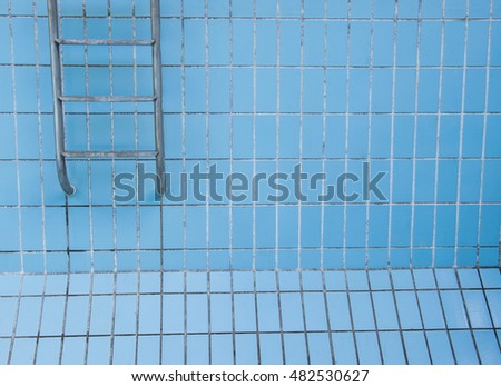 Empty swimming pool with metal ladder.