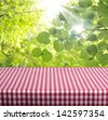 Empty table and defocused foliage green background. Great for product display montages. - stock photo
