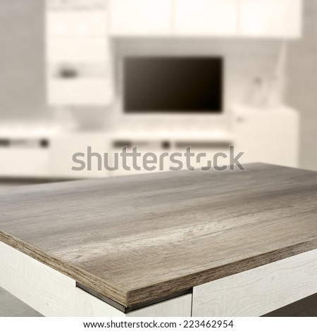 empty table in living room  - stock photo
