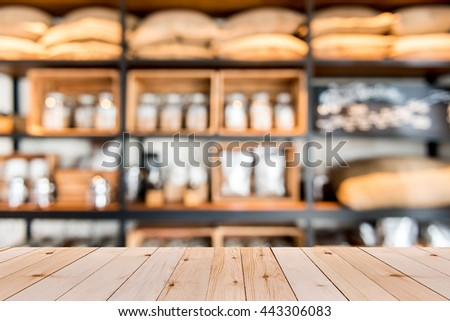 Empty table over blur supermarket with bokeh background, Product shelf