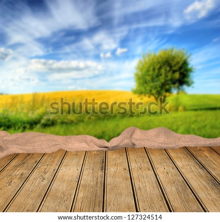 Empty table ready for Your photo montage - stock photo