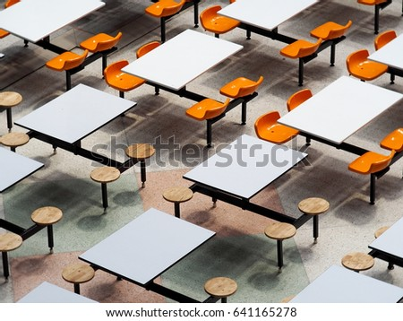 Empty Tables Chairs Set In Rows Of Large University School Canteen Lunch  Room Easy Clean Industrial