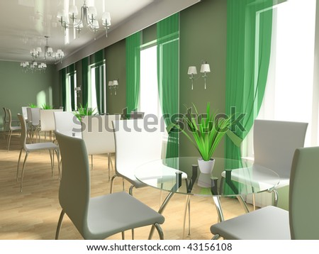 Empty tables in cafe 3d image