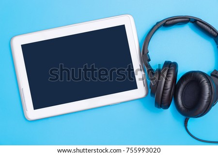 Empty tablet screen with Music headphone for Music entertainment concept