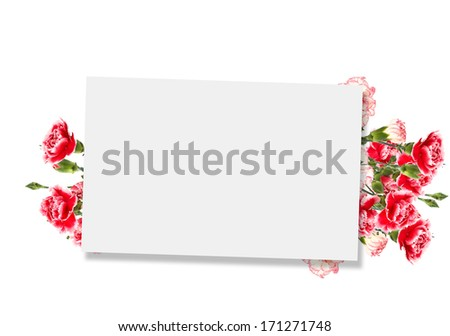 Empty tag for your text and fresh yellow forsythia flowers. Background for design. - stock photo