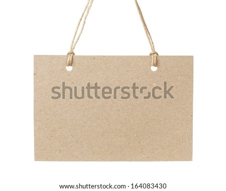 empty tag on twine with space for writing something, isolated on white background - stock photo