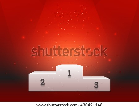 Empty template of white pedestal for winners on bright red background - stock photo
