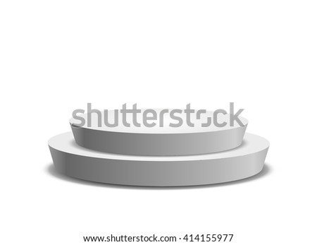 Empty template of white round podium isolated on white