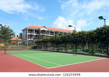 Empty tennis court - stock photo