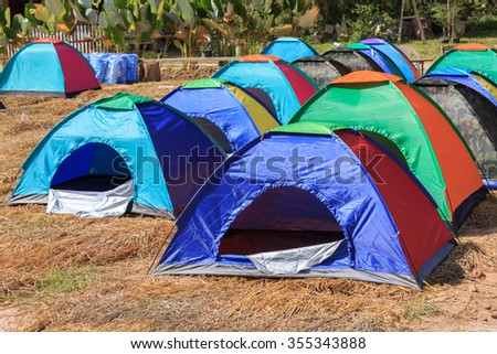 empty tent camping ready for booking - stock photo