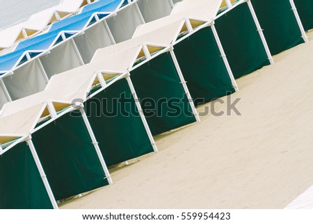 Empty tents in a seaside resort on a beach in Mar del Plata, Argentina