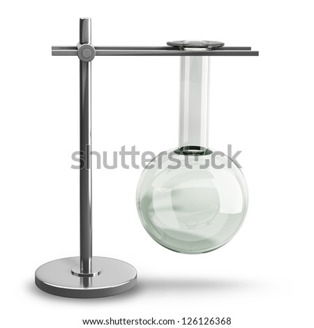 Empty Test Tube on a metal support isolated on white background High resolution 3d render - stock photo