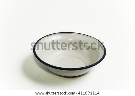 empty thai old white and blue zinc bowl on whit background