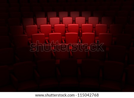 Empty theater auditorium or cinema - stock photo