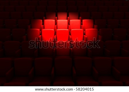 Empty theater auditorium or cinema - stock photo