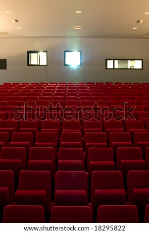 Empty Theater Seating for a Movie - stock photo