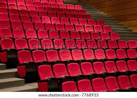 Empty theatre theater auditorium cinema or conference hall. - stock photo