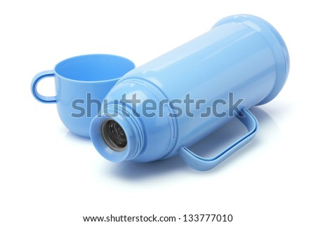 Empty Thermos Flask Lying On White Background - stock photo