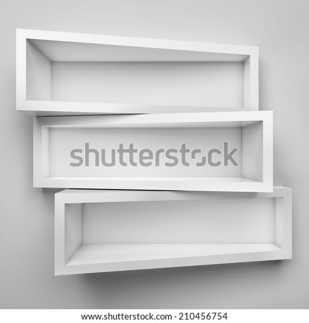 Empty three shelves on clean soft background. - stock photo