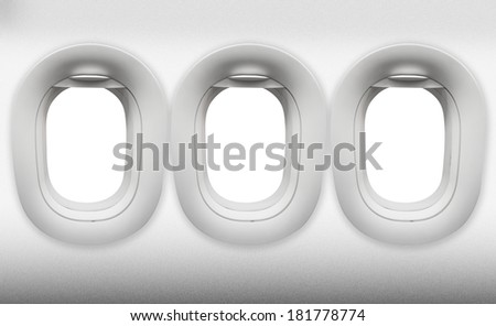 empty three window Aircraft on white - stock photo