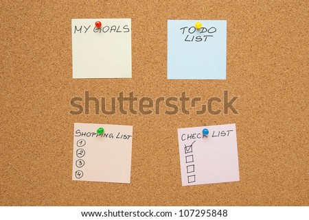 Empty to-do cards on a corkboard