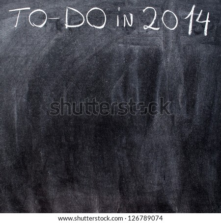 Empty to-do list on year 2014 on chalkboard - stock photo